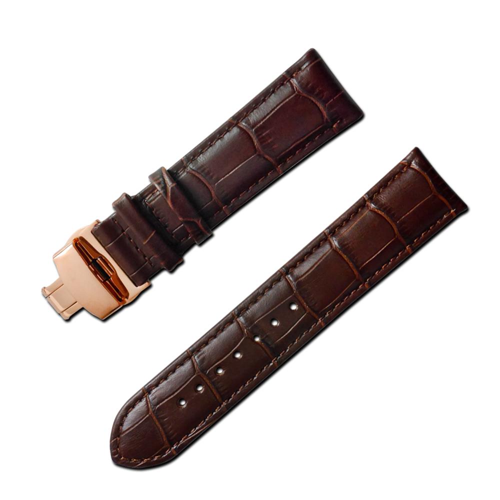 Watchband 經典復刻時尚指標壓紋真皮雙邊壓扣錶帶 棕x玫瑰金扣