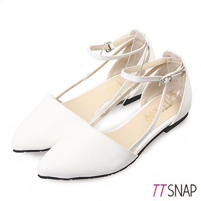 TTSNAP尖頭鞋-MIT歐式羊紋繞帶繫踝平底鞋