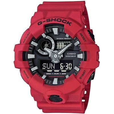 G-SHOCK GA-700系列絕對強悍雙顯腕錶(GA-700-4A)-紅/53.4mm