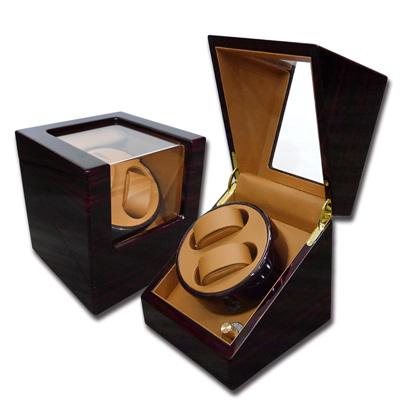機械錶自動上鍊盒 1旋2入錶座轉動 鋼琴烤漆 - 黃棕x木紋紅褐