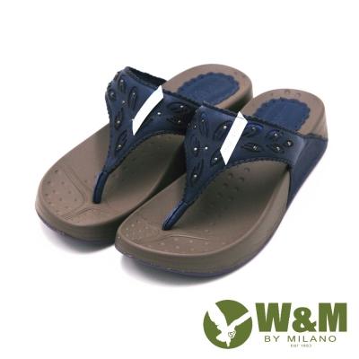 W&M 素色雕花厚底夾腳拖鞋 女鞋-深藍(另有杏、桃)