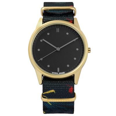 HyperGrand Grenville 夏日藝術印花尼龍手錶-黑x金框x深藍/38mm