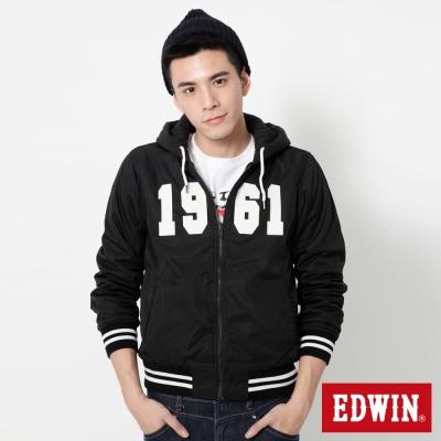 EDWIN 貼布繡雙面穿連帽式外套-男-黑色