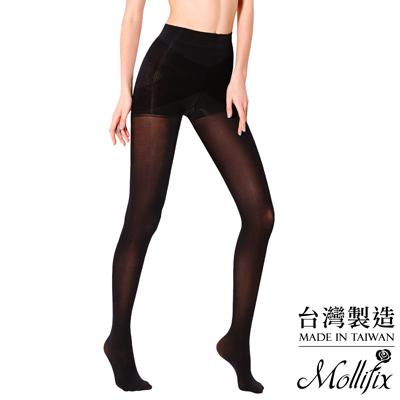 Mollifix-踮腳尖彈力透膚美腿襪-黑