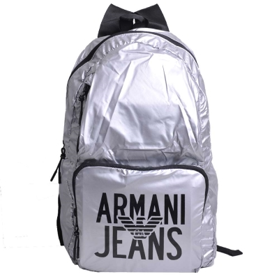 ARMANI JEANS 品牌圖騰LOGO尼龍超輕量後背包(太空銀)