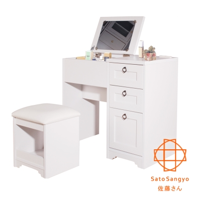 Sato-ANRI小日子化妝三抽桌椅組-樸素白