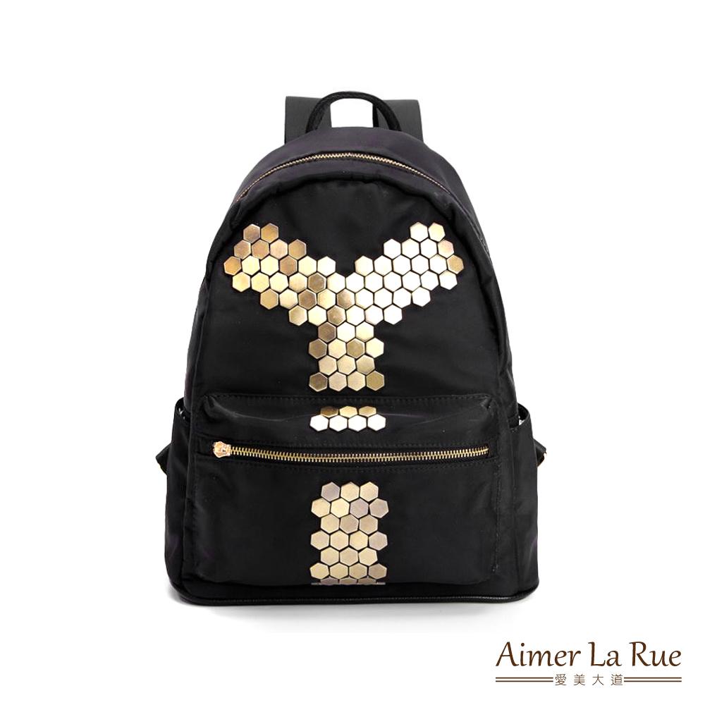 Aimer La Rue 真皮尼龍後背包 金屬感鉚釘系列(黑色)