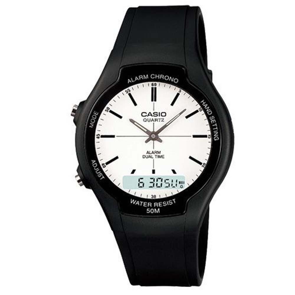 CASIO 酷炫經典指針雙顯錶-白面/藍時標(AW-90H-7E)/39mm