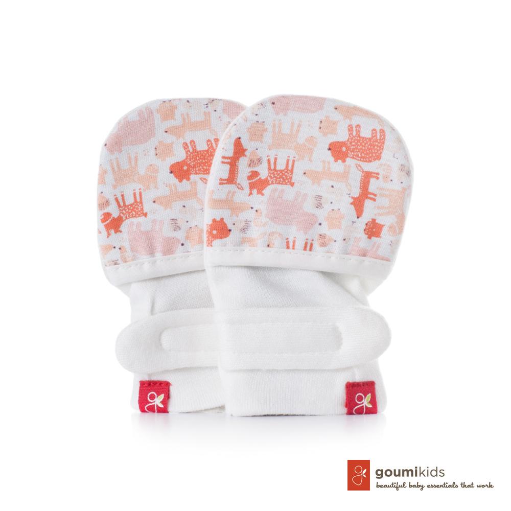 美國 GOUMIKIDS 有機棉嬰兒手套 (叢林動物-橘色)