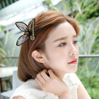 梨花HaNA 韓國水鑽鑲飾蕾絲兔耳朵髮夾
