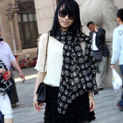 Aimee-Toff-皇冠骷髏時尚巴黎紗圍巾-黑