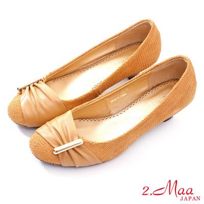 2-Maa-金屬飾扣割面羊皮復古高跟鞋-米駝