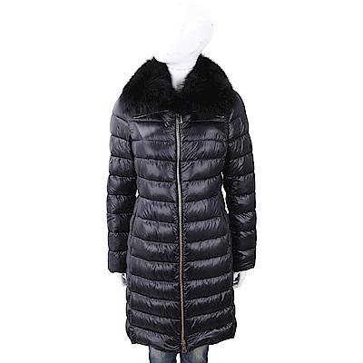 HERNO 狐狸毛領可拆黑色絎縫羽絨大衣