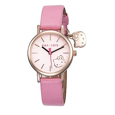 【HELLO KITTY】凱蒂貓可愛貓頭吊飾俏皮手錶 - 粉紅