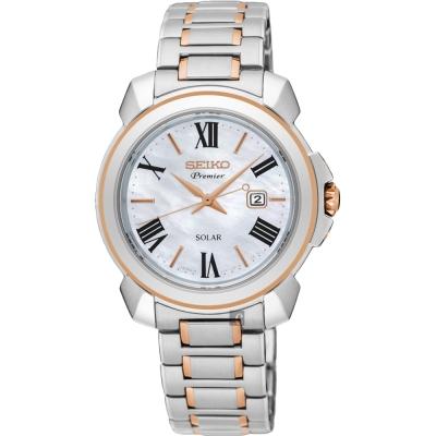 SEIKO精工 Premier 羅馬太陽能女錶(SUT322J1)-珍珠貝x雙色/32mm