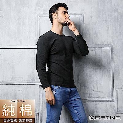 男內衣 長袖棉毛彩色圓領衫 黑色 MORINO