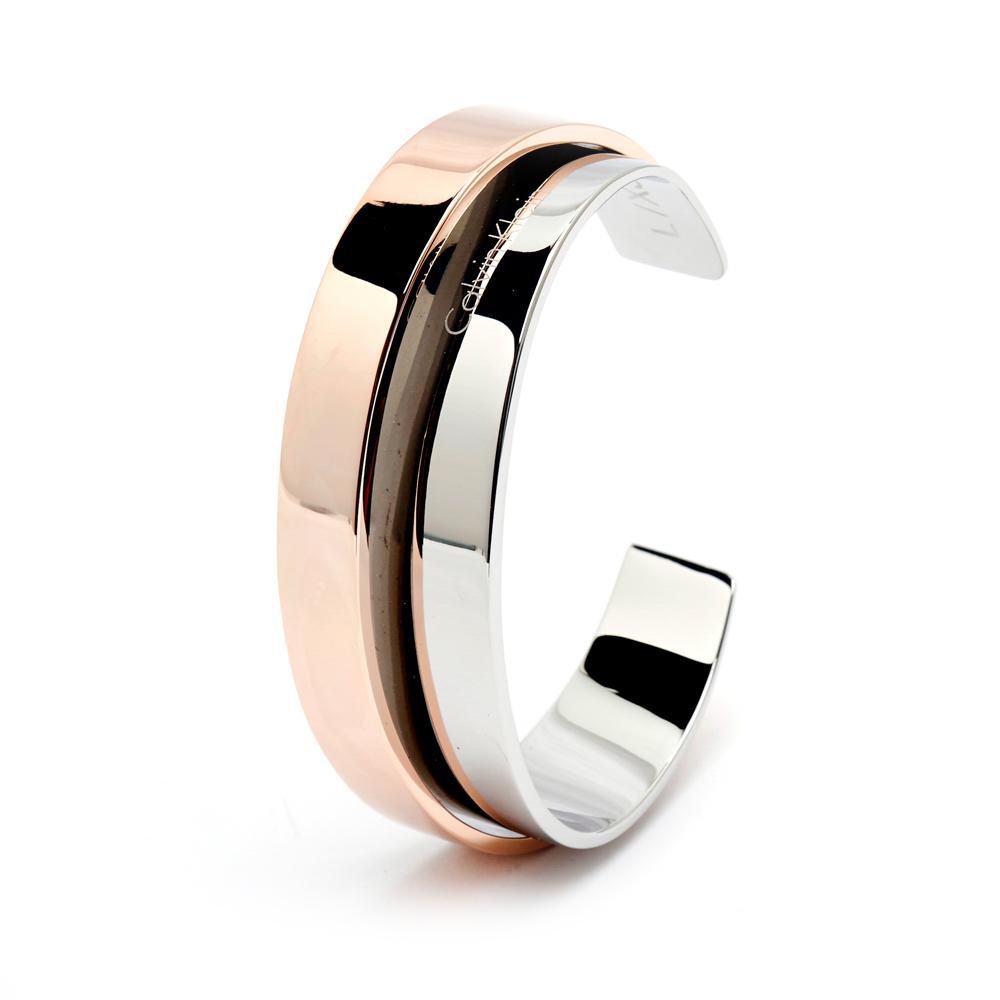 CK Calvin Klein自信俐落線條時尚款手環-玫瑰金