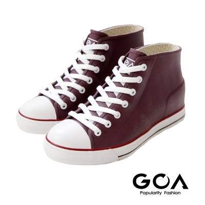 GOA 街頭時尚.男款內增高帆布款橡膠雨鞋-紫