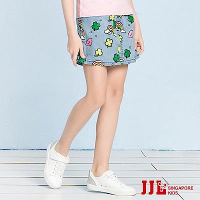 JJLKIDS 繽紛花園鬆緊牛仔短裙(牛仔藍)