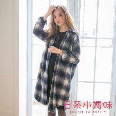 日系小媽咪孕婦裝-雙色格紋磨毛質感襯衫洋裝-共二色