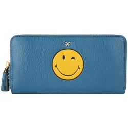 Anya Hindmarch Smiley Wink 眨眼流蘇拉鍊長夾(藍色)