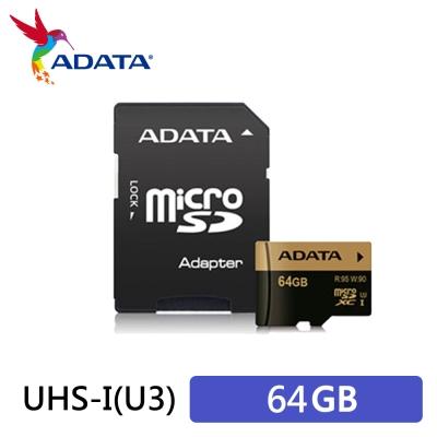 ADATA 威剛 XPG microSDXC UHS-I U3 64G記憶卡(附轉卡)