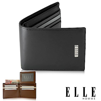 福利品 ELLE 法式拼接撞色系列 頭層皮可翻式證件/名片多格層設計短夾- 黑色