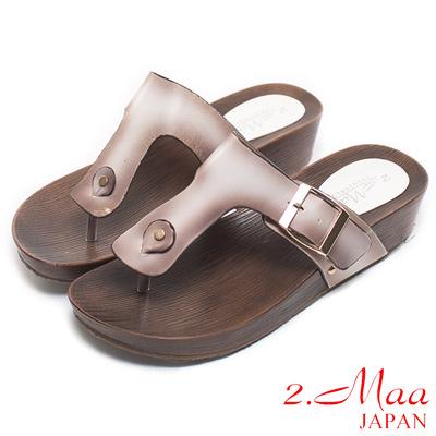 2.Maa-經典簡約刷色船型夾腳拖鞋-刷色白