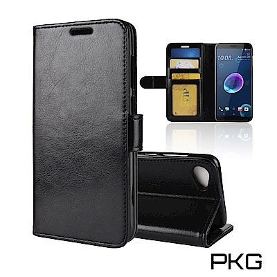 PKG HTC Desire12 Plus 側翻式皮套-經典系列-黑