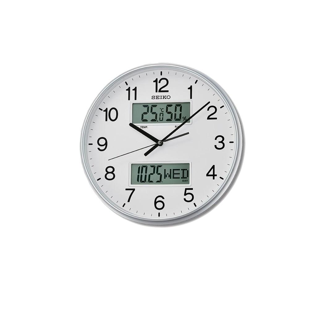 SEIKO 日本精工 雙顯 溫度/溼度/日期 靜音掛鐘(QXL013S)-白/33cm