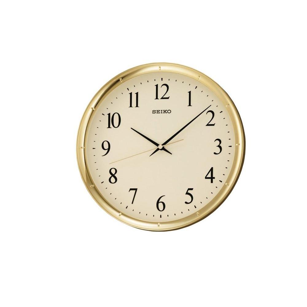 SEIKO 精工 黃金戰士 滑動式秒針 靜音掛鐘(QXA417G)-金/31cm