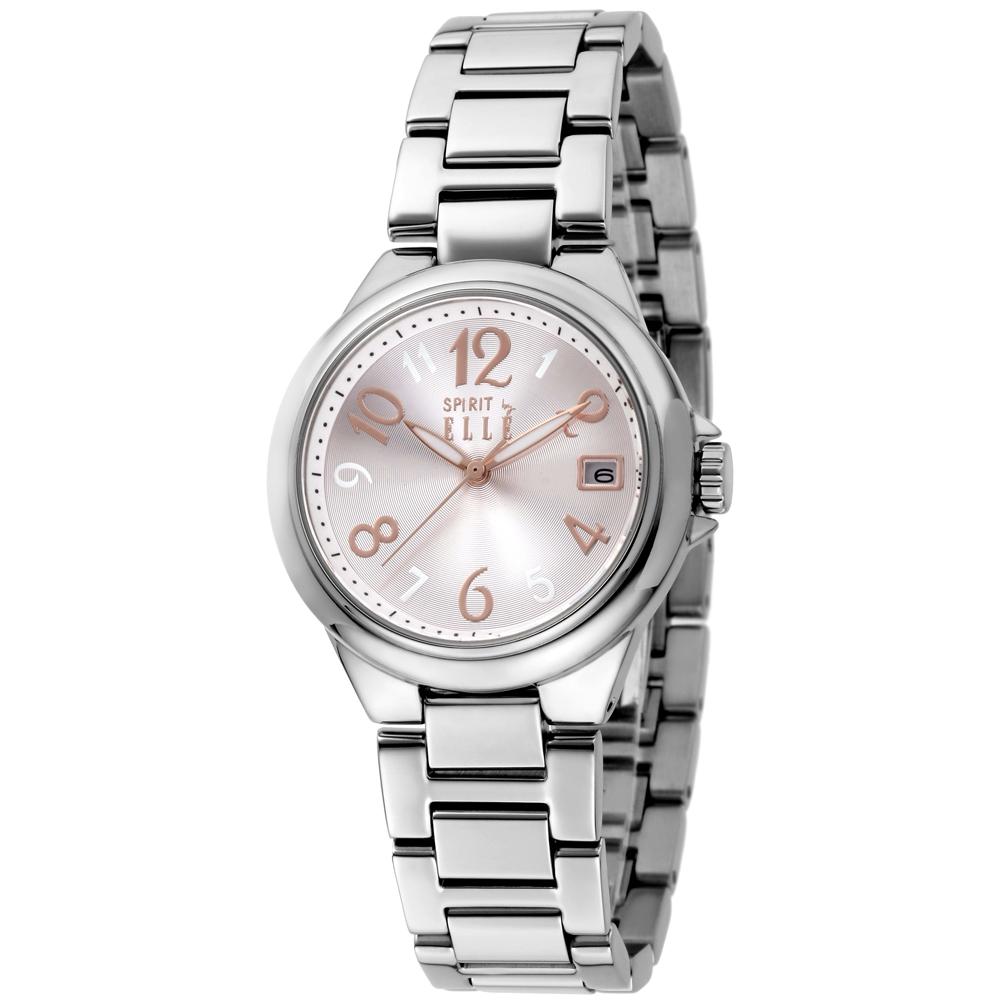 ELLE 優雅清新不鏽鋼時尚腕錶-銀-33mm