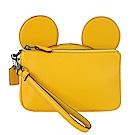 COACHXDISNEY聯名款米奇大耳朵拉鍊手拿包(黃)(展示品)