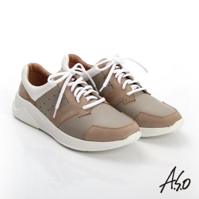 A.S.O 輕量抗震 磨砂真皮綁帶奈米休閒鞋 卡其色