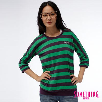 SOMETHING玩色調味條紋七分袖寬版長T-女款-綠色