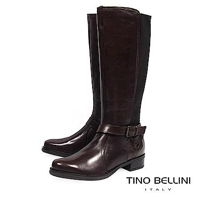 Tino Bellini 歐洲進口英氣拼接彈力布平底長靴_ 咖