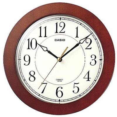 【CASIO 】清晰簡單靜音木紋掛鐘-(IQ-126-5)
