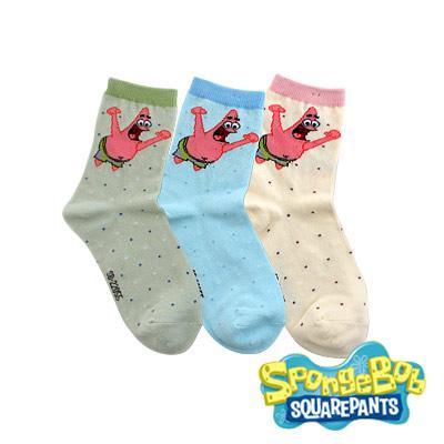 Spongebob海綿寶寶-派大星歡呼棉質童襪3入(21-24cm)