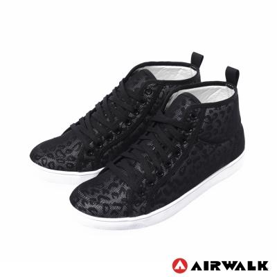 AIRWALK-女-夏日的紗網隱式豹紋內增高休閒鞋-面具黑