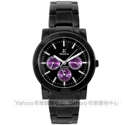 SIGMA 都會簡約三眼時尚手錶-黑/41mm