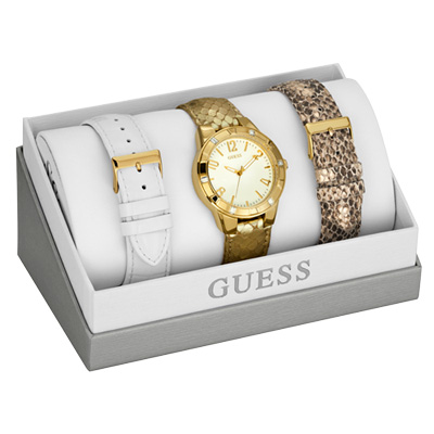 GUESS 完美風格尚晶鑽時尚套錶-金/28mm