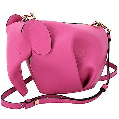 (無卡分期12期) LOEWE Elephant 大象造型小牛皮迷你手拿/斜背包(桃紅色)