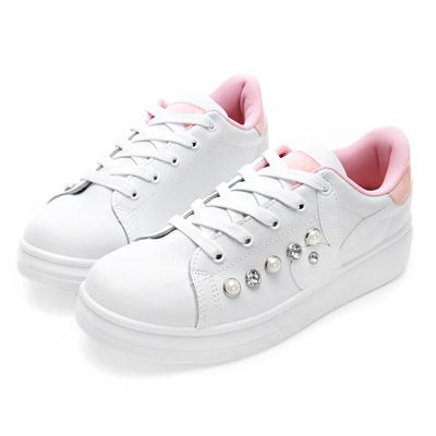 PLAYBOY搶眼POINT 大珍珠鑽石厚底休閒鞋-白粉