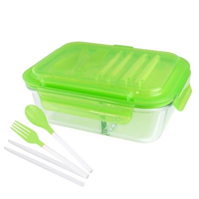 美國Winox 安玻立體3分隔玻璃保鮮盒1000ML附組合餐具