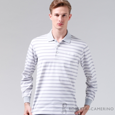 ROBERTA諾貝達-台灣製-抗UV-透氣抗皺-長袖POLO棉衫RBE86-22白色