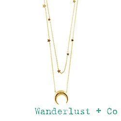 Wanderlust+Co 澳洲品牌 新月金項鍊 雙層星星項鍊 CONSTELLATION