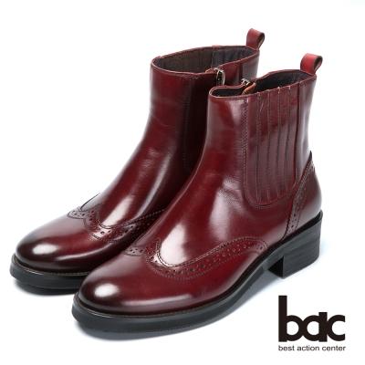 bac英倫學院 率性風格真皮短靴-酒紅色