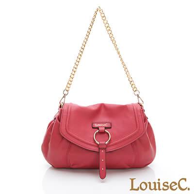 LouiseC. 義大利牛皮甜美鏈帶肩背包-紅色-05C01-0055A01