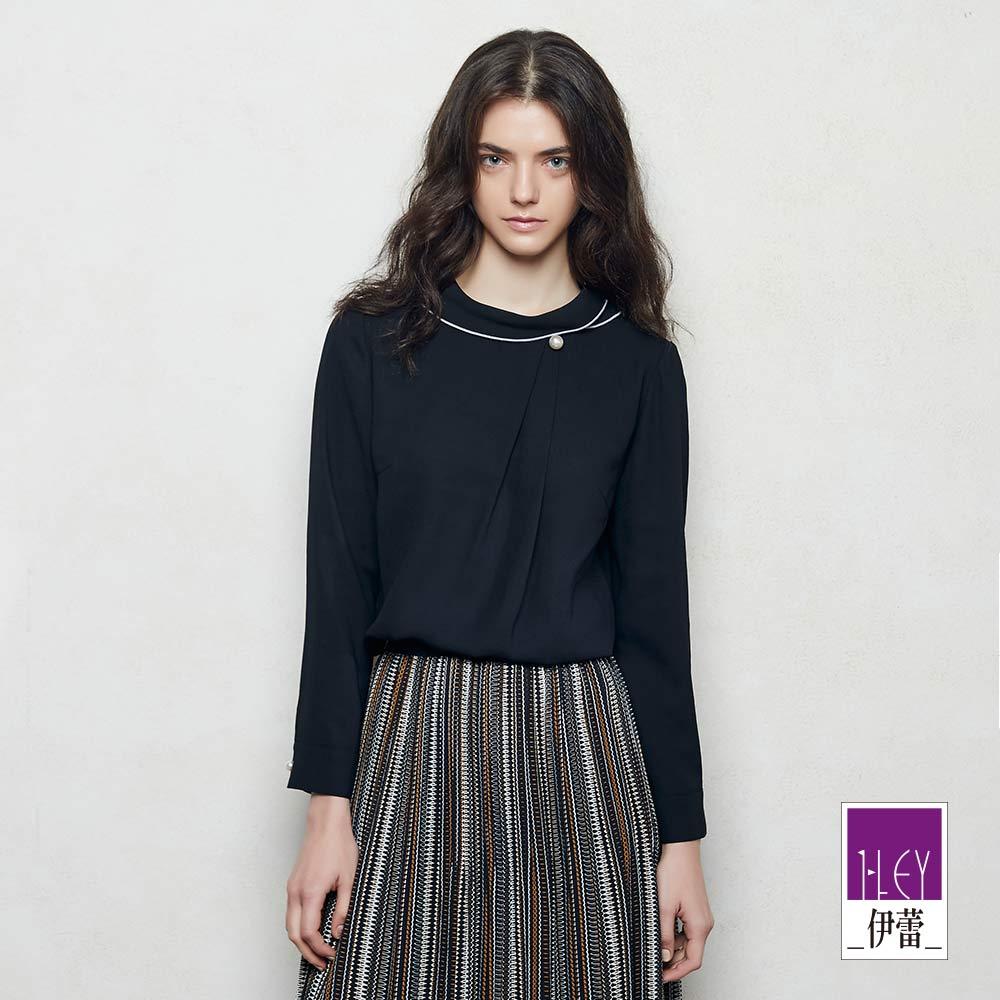 ILEY伊蕾 都會優雅珠飾小翻領上衣魅力價商品(黑)