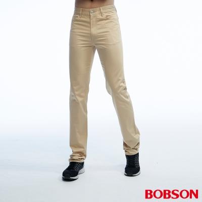 BOBSON 男款高腰配格紋直筒卡其色褲